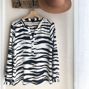 Ann Taylor Zebra Print Blouse Size SP